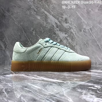 DCCK2 A961 Adidas Sued Fashion Casual Thick Bottom Flatform Shoes Mint Green