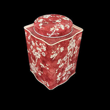 Vintage Daher Tin Box Tall Box for English Candy Confection Made in England Floral Tin Cream Flowers on Red Storage Container