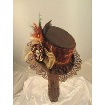 Steampunk Brown Riding Hat with Clock Print Band