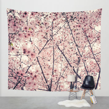 Blizzard of Blossoms Wall Tapestry by Jenndalyn