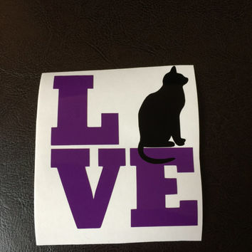 Cat Love Decal Any Color Any Size Cat Lover