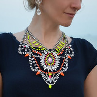 Madame Bovary - Stunning neon painted swarovski rhinestones over sized statement necklace- ready to ship