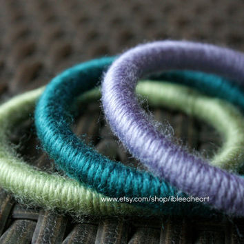 Three Yarn Wrapped Bangle Bracelets - Purple, Dark Blue, and Light Green