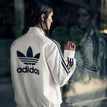 adidas Originals Three Stripe Bonded Lace Bomber Jacket