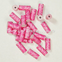 Paper Beads, Loose Handmade Supplies Tube Hot Pink with Scroll