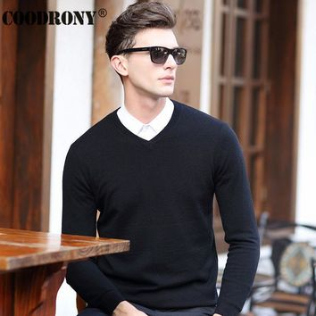 HS High Quality Winter Soft Warm Knitted Merino Wool Sweater Men 100% Real Cashmere Sweaters Pure Color V-Neck Pullover Men 6308