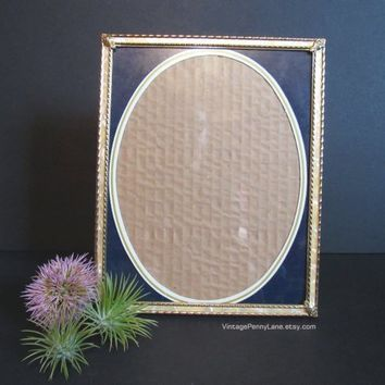Vintage Picture Frame, Brass, Celluloid Inlay, 8 x 10 Photo Frame, Vintage Frame