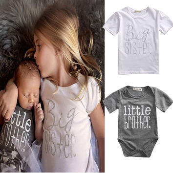 New Arrival Bboys Enfant Girls Clothing Matching Cotton Clothes Big Sister T-shirt Little Brother Romper Outfit Playsuit
