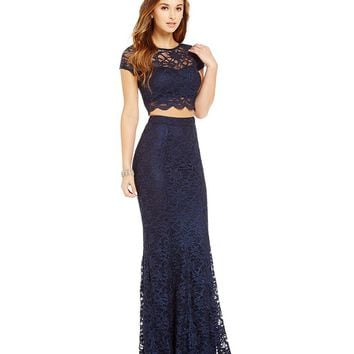 Xtraordinary Foiled Lace Two-Piece Long Dress | Dillards