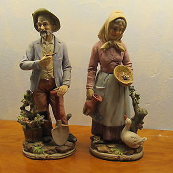 VINTAGE LARGE FRENCH COUNTRY COUPLE FIGURINES