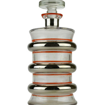 Art Deco Silver and Red Ribbed Glass Decanter Vintage English 1920s