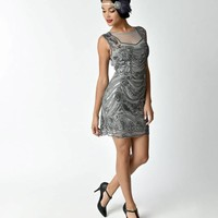 Unique Vintage 1920s Style Gunmetal Grey Dominique Illusion Flapper Dress