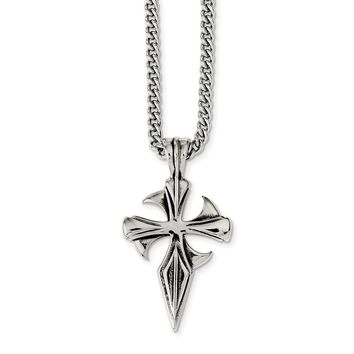 Stainless Steel Polished & Antiqued Dagger Cross Necklace 22in