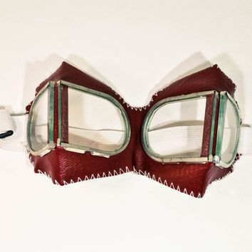 SALE Red Goggles, Steampunk Goggles, Protective Glasses, FREE SHIPPING