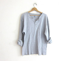 vintage gray long sleeve long underwear henley top. grunge look shirt / men's size 3XL