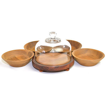 Wooden Cheese Tray, Glass Cloche + Vermillion Walnut Bowls (4) Serving Set - Mid-Century Wood Party Dishes - Vintage Kitchen & Dining