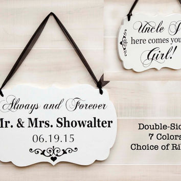 Personalized Double Sided romantic wedding wood sign - 7 colors. Mr. and Mrs., Here Comes Your Girl. Ring Bearer sign. Vintage Wedding