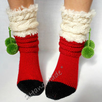 Knitted Red Socks Santa Christmas Decorations Xmas Handmade Merino Wool Women Men Teen Kids Pom Pom