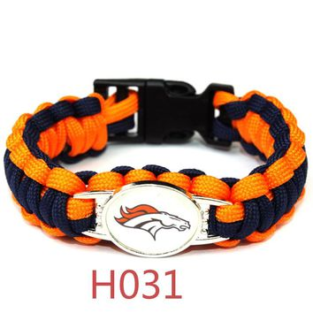 New arrivel Denver broncos bracelet sport team umbrella braided bracelet football fans gift 10pcs