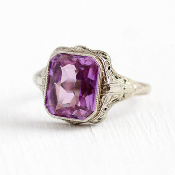 Vintage Filigree Ring - 10k White Gold Created Color Change Sapphire - Size 7 1/4 Art Deco 1930s OB Ostby Barton Pink to Purple Fine Jewelry