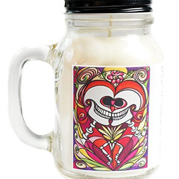 Eternal Love Pheromone Scented Love Skulls Day of the Dead 20oz Glass Mug Jar Soy Candle