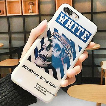 Off White New fashion letter skull couple protective cover phone case White