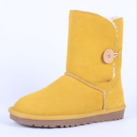 """UGG"" Women Fashion Wool Snow Boots Calfskin Shoes A button fresh Yellow"