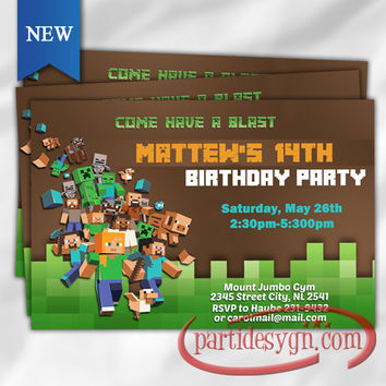 Printable Minecraft 2- Birthday Invitation - Digital File