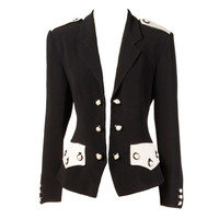 Moschino Couture 90s 1990s Black + White Military-Inspired Blazer Jacket