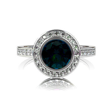 1.22ct greenish Blue sapphire halo engagement ring, diamond ring, white gold ring, bezel engagement, teal sapphire halo, blue, diamond ring