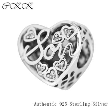 CKK Mother & Son Bond Charm 925 Sterling Silver Clear CZ Beads for Jewelry Making Fit Charm Bracelet Diy 2017 Mother New PF551