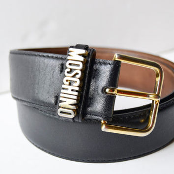 MOSCHINO black leather belt, vintage