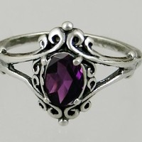A Gorgeous Victorian Sterling Silver Ring Featuring a Beautiful Faceted Amethyst Made in America