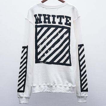 OFF-WHITE Autumn and winter tide brand graffiti arrow Zebra warning line round neck pullover sweater White