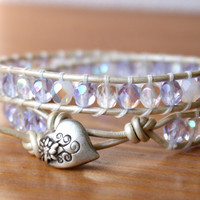 Crystal Lilac Bohemian beaded leather wrap bracelet, boho chic, silver heart jewelry, White, Opal, wedding, bridal, hipster, gift idea