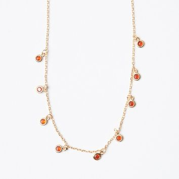 BURN ORANGE MINI GEM NECKLACE
