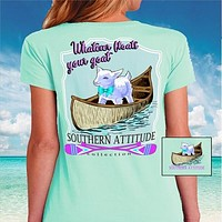 Southern Attitude Preppy Goat In Canoe Paddles T-Shirt