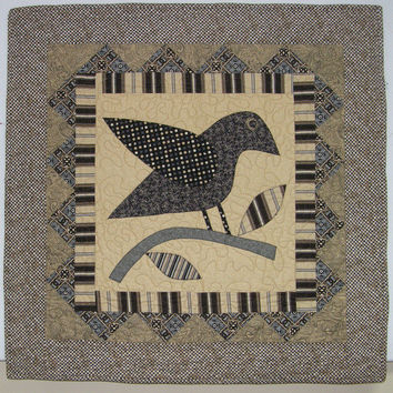 Black Crow Quilted Wall Hanging Black and Tan Quilt