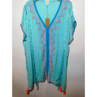 Surf Gypsy - Ebroidered V Neck Cover Up with tassel trim, Mint - Multi color