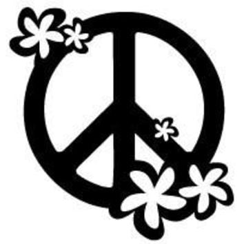 Floral Peace Sign Vinyl Car/Laptop/Window/Wall Decal