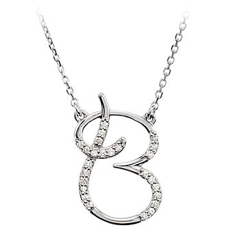 1/8 Ct Diamond 14k White Gold Medium Script Initial B Necklace, 17in