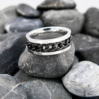 Mens ring, Mens stainless steel ring, Biker Jewelry, Mens Casual Ring, Black chain ring, Spinner Ring, Chain Rings, Stress Reliever Rings