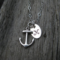 Anchor Personalized Silver Necklace Tiny Nautical Sailor Beach Graduation Gift