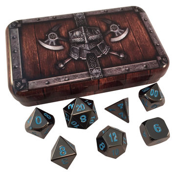 Dwarven Chest with Icy Doom (Shiny Black Nickel with Blue Numbering) Dice