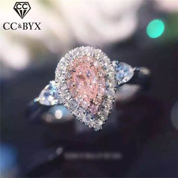 CC Jewelry Rings For Women Fashion Jewelry Pink Water Drop Simple Jewelry Engagement Bride Wedding Gift Ring Anillo CC585