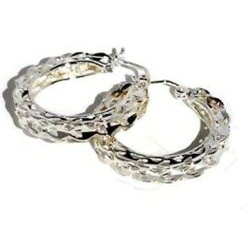 Sterling Silver Thick Filigree Pin Catch Hoop Earrings
