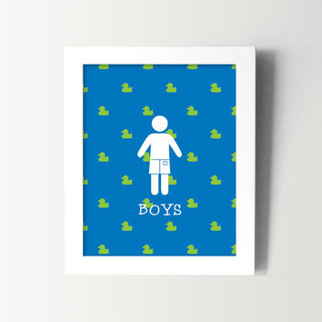 Boys Bathroom Sign - Kids Bathroom Wall Art - Kids Bath Decor - Boys Restroom Decor - Rubber Ducky Bathroom - Cute Duck Bathroom Prints