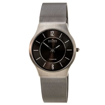 Skagen 233LTTM Men's Grey Dial Titanium Mesh Bracelet Quartz Watch