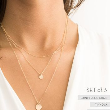 Set 943 • Custom Disk Necklaces, Layered Set of 3 • Initial Necklace Personalized Options • Gold, Silver or Rose Gold Layered and Long