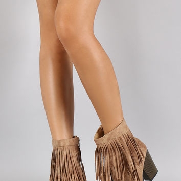 Soda Burnished Double Layered Fringe Bootie